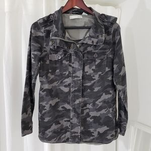 Kersh Grey Camo Zippered/Buttoned Jacket